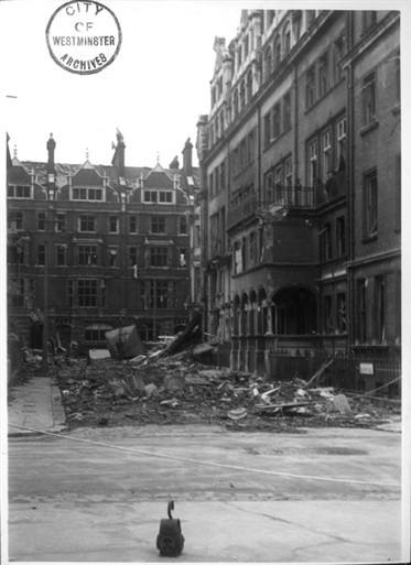 Photo:Mount Street viewed from Balfour Place, bomb damage April 1941